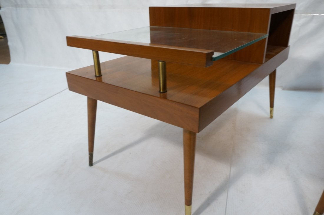 Pr Step Form Side End Tables. Walnut with brass a - 7