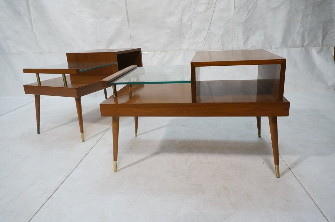 Pr Step Form Side End Tables. Walnut with brass a - 9