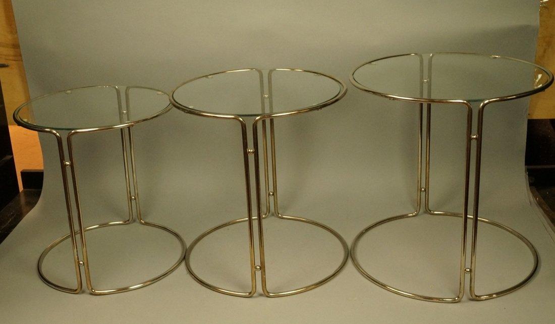 Set 3 Chrome & Inset Glass Nesting Tables. Modern