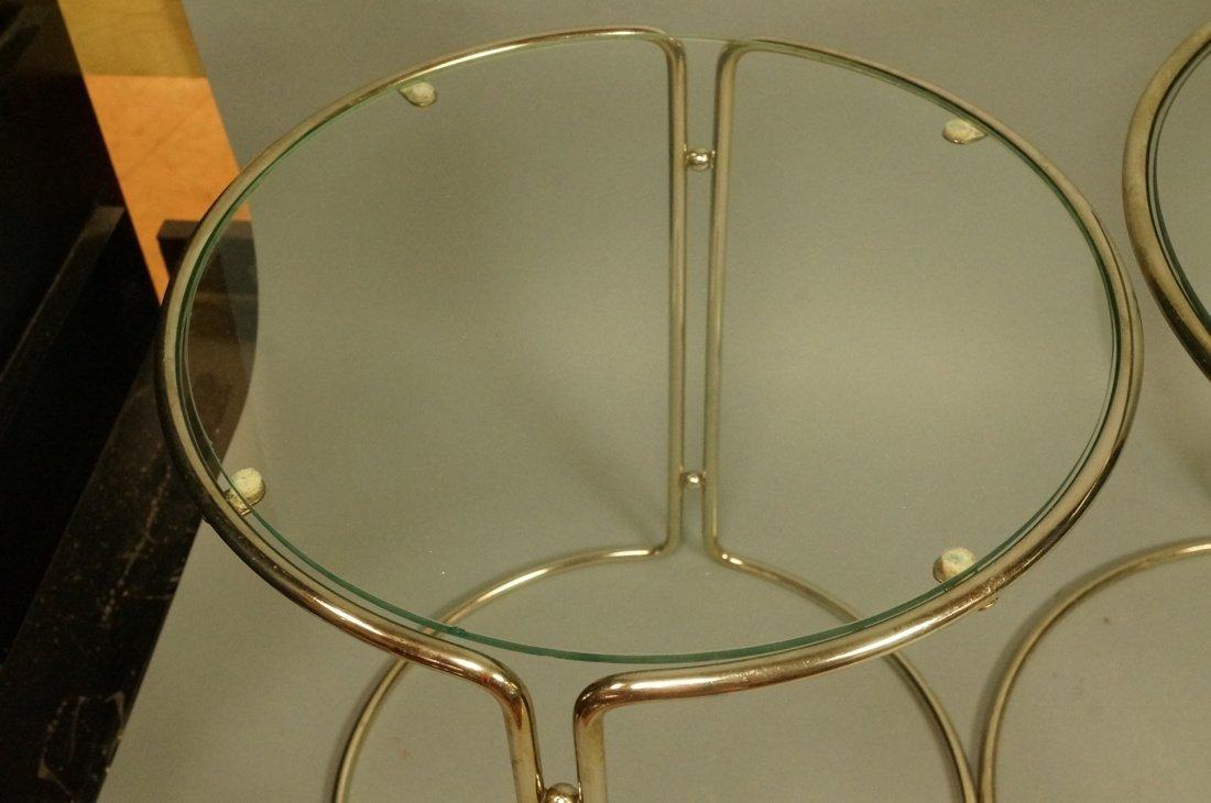 Set 3 Chrome & Inset Glass Nesting Tables. Modern - 2