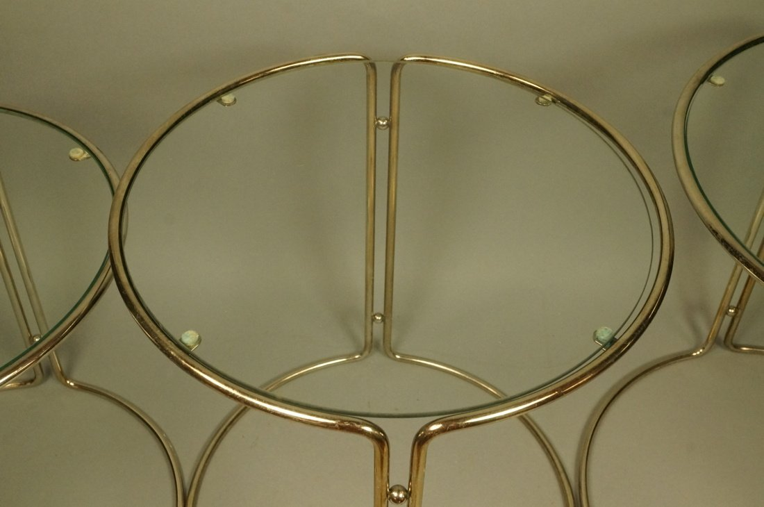 Set 3 Chrome & Inset Glass Nesting Tables. Modern - 4