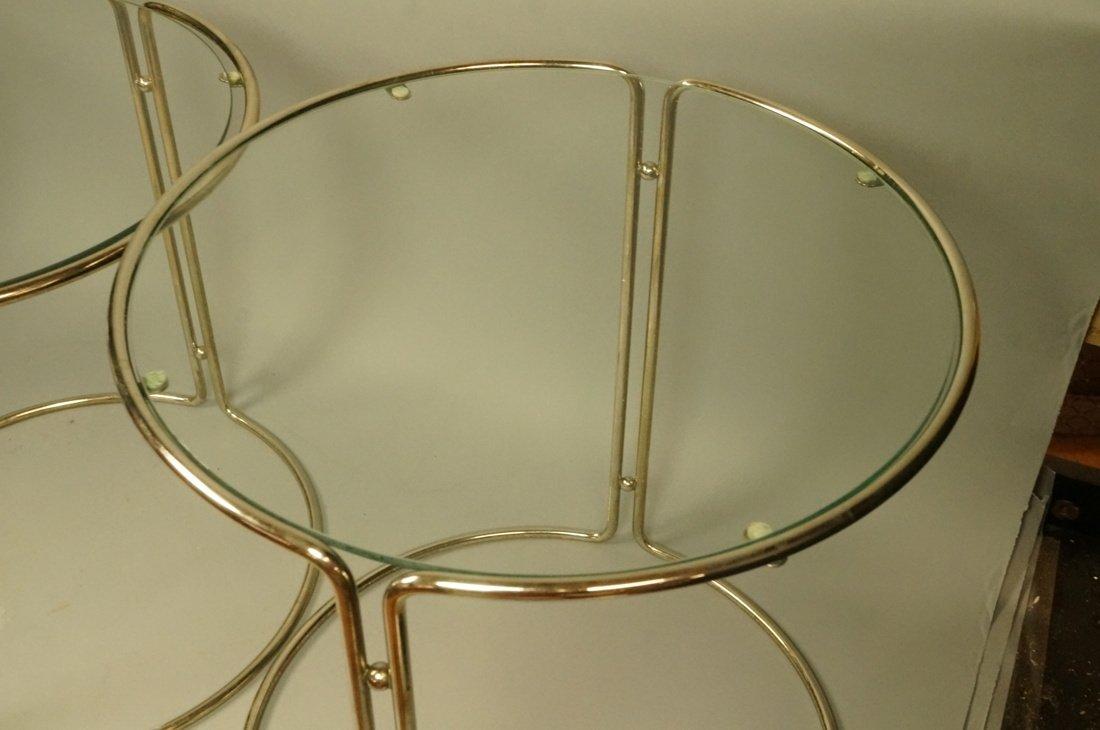 Set 3 Chrome & Inset Glass Nesting Tables. Modern - 5