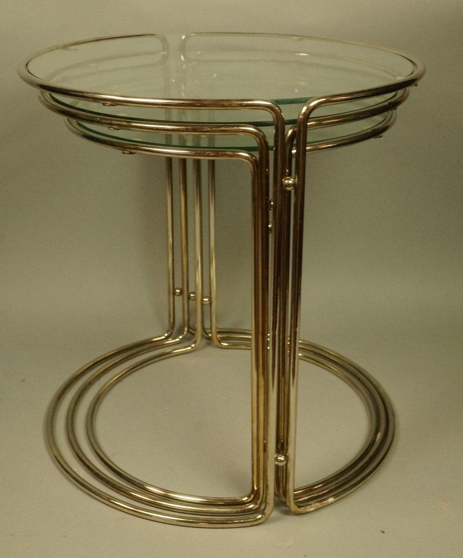 Set 3 Chrome & Inset Glass Nesting Tables. Modern - 6