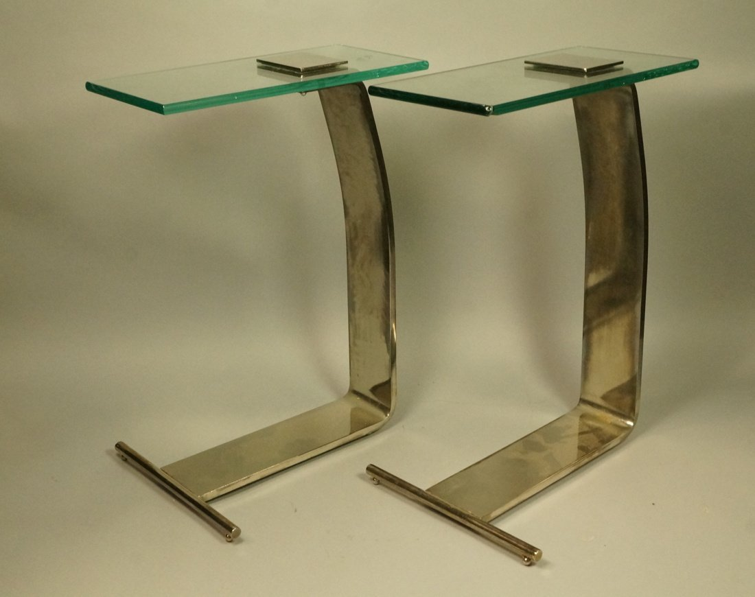 Pr DIA Silver Metal Glass Top Side Tables. DESIGN
