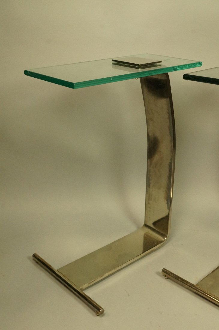 Pr DIA Silver Metal Glass Top Side Tables. DESIGN - 2