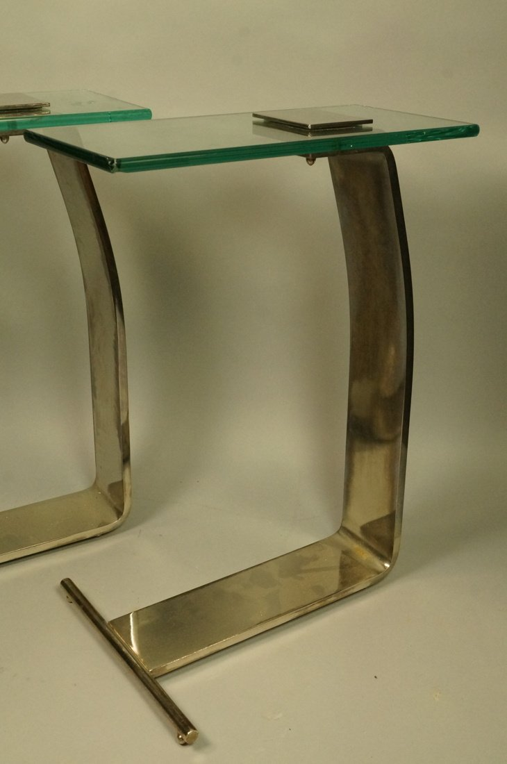 Pr DIA Silver Metal Glass Top Side Tables. DESIGN - 4