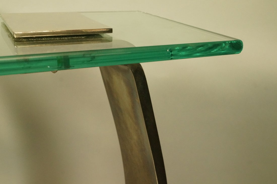 Pr DIA Silver Metal Glass Top Side Tables. DESIGN - 7
