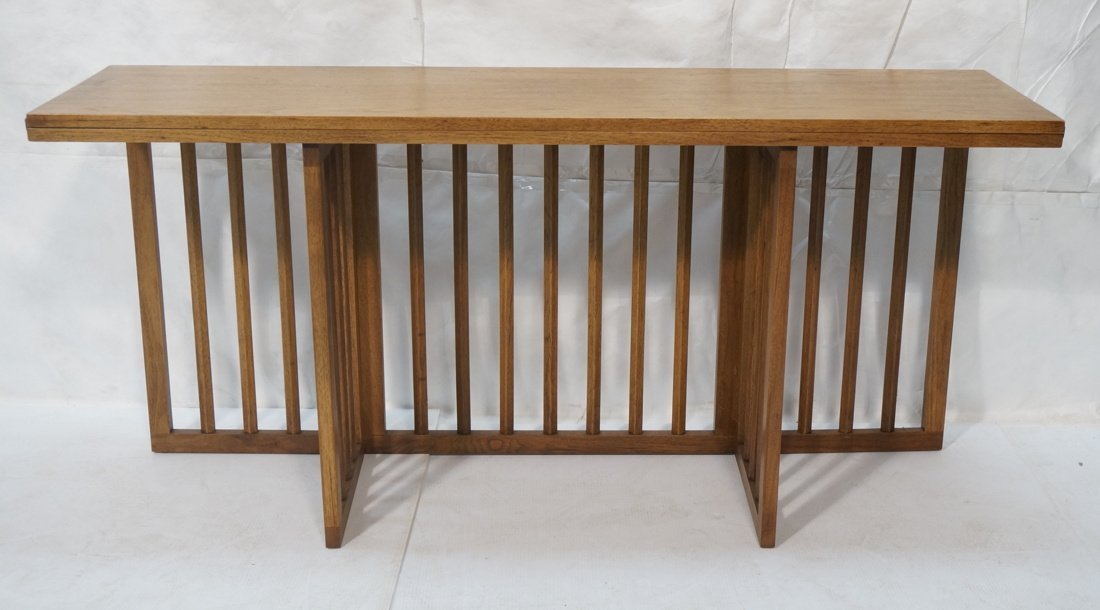 Long wood flip top Hall Table. Arts & Craft style