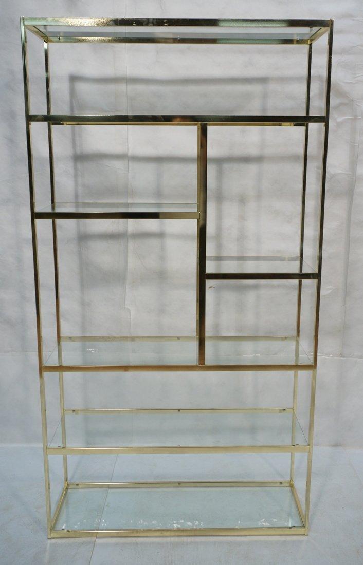 Shiny Brass & Glass Etagere. Display Unit. Glass