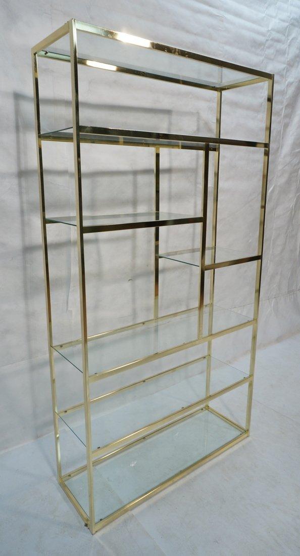 Shiny Brass & Glass Etagere. Display Unit. Glass - 2