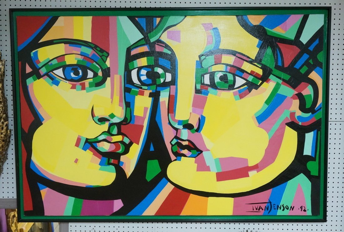 IVAN JENSON Large Vibrant Color Acrylic Painting.