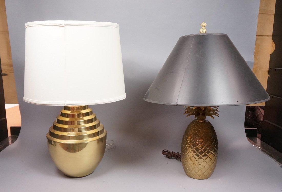 2pc Brass Modern Lamps. 10. Brass Pineapple Lamp