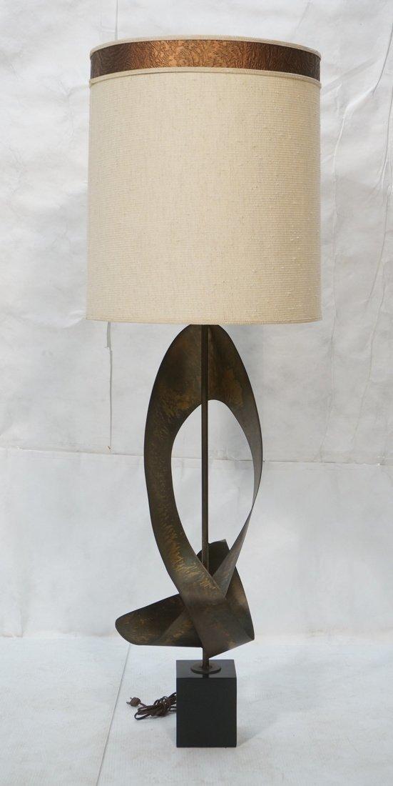 Tall HARRY BALMER Ribbon Form Metal Lamp. Produce