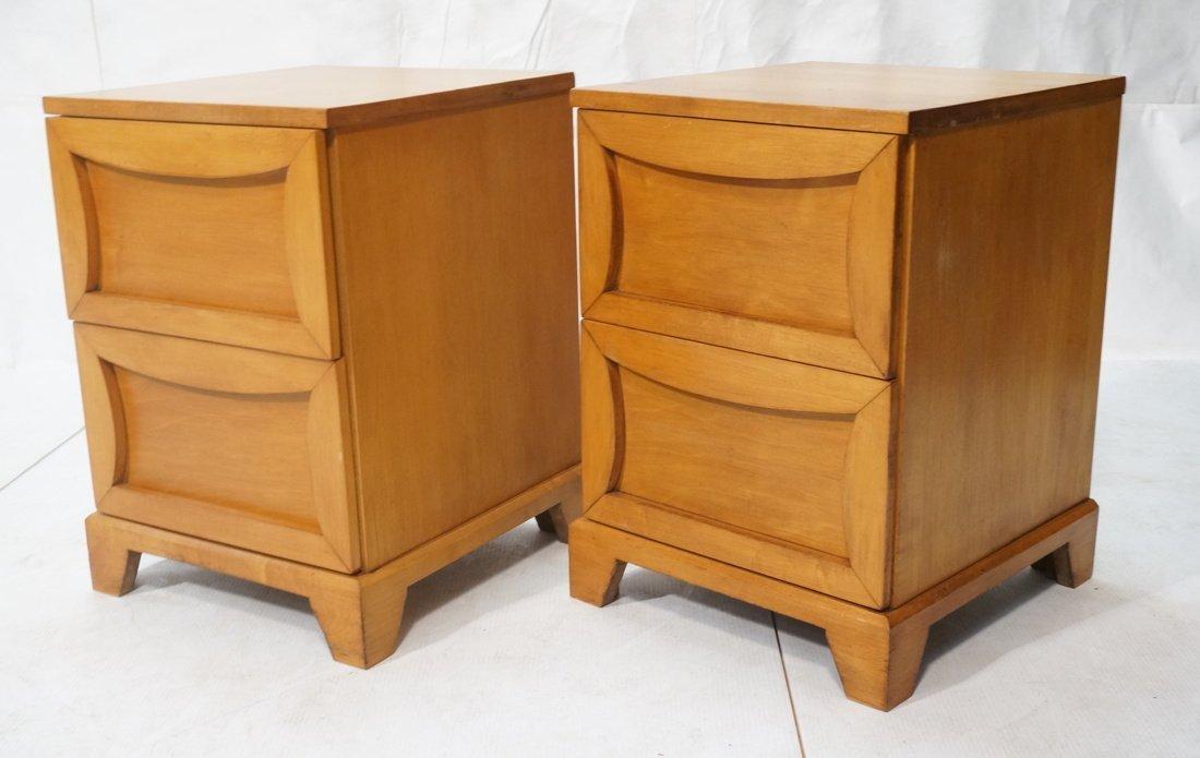 Pr Modernist C.B. 2 drawer night stands. Shaped d