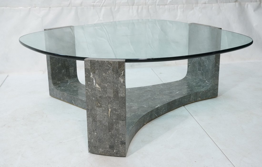 Contemporary Stone Tesserae Cocktail Table. Glass