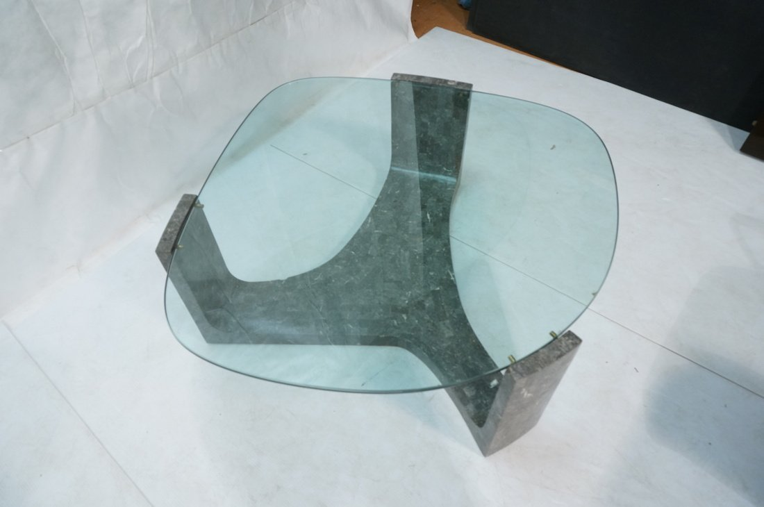 Contemporary Stone Tesserae Cocktail Table. Glass - 5