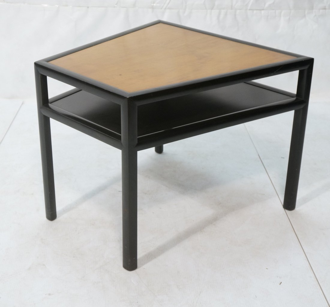 BAKER Two Tone Wood Wedge Side Table. Ebonized tr