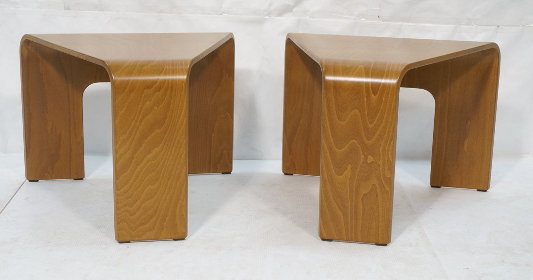 "Pr EKORNES ""wedge"" Tables. Flat molded wood form"