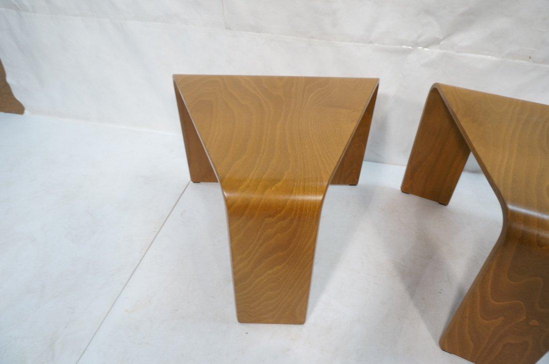 "Pr EKORNES ""wedge"" Tables. Flat molded wood form - 2"