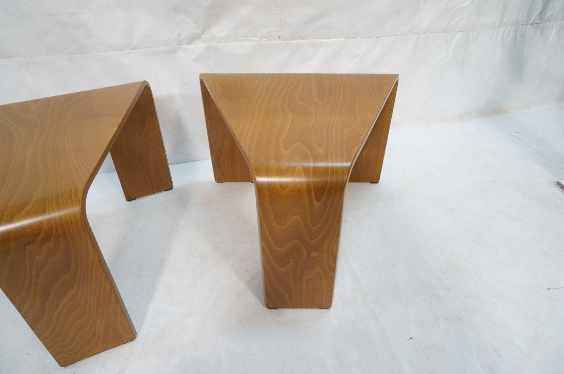 "Pr EKORNES ""wedge"" Tables. Flat molded wood form - 3"