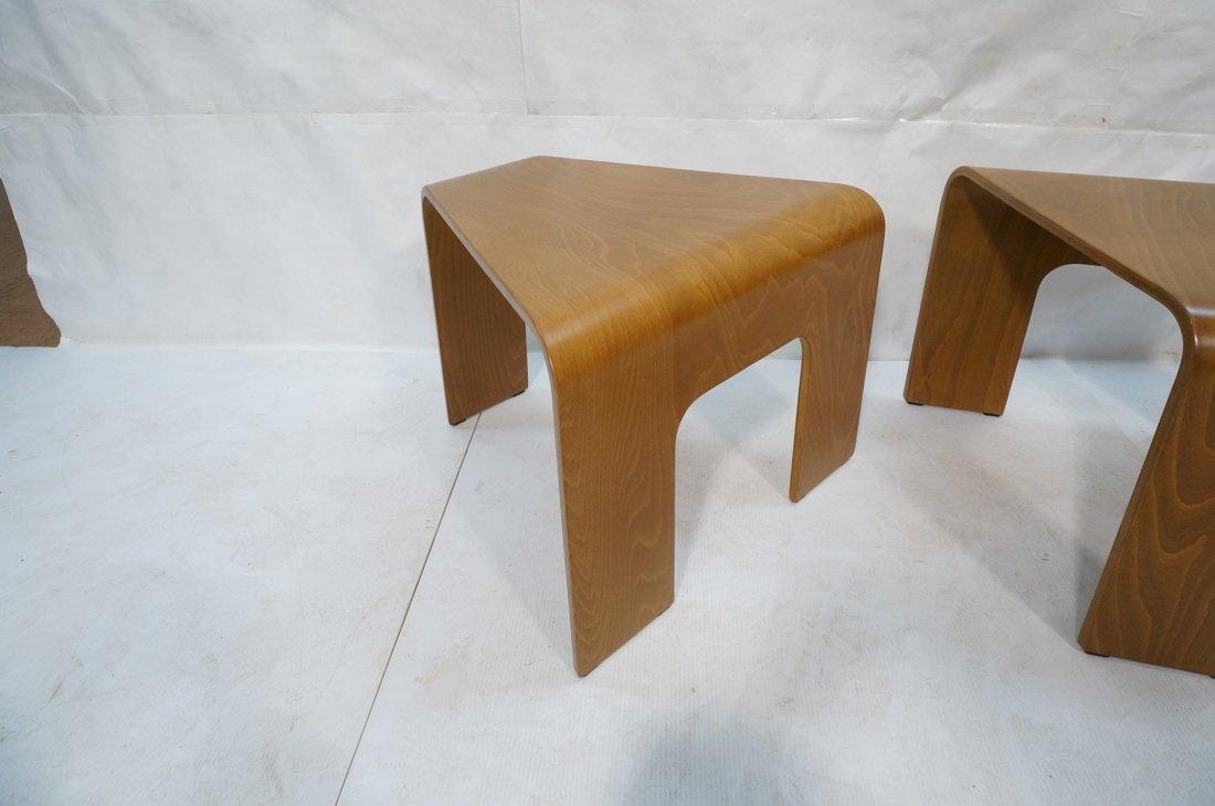 "Pr EKORNES ""wedge"" Tables. Flat molded wood form - 4"