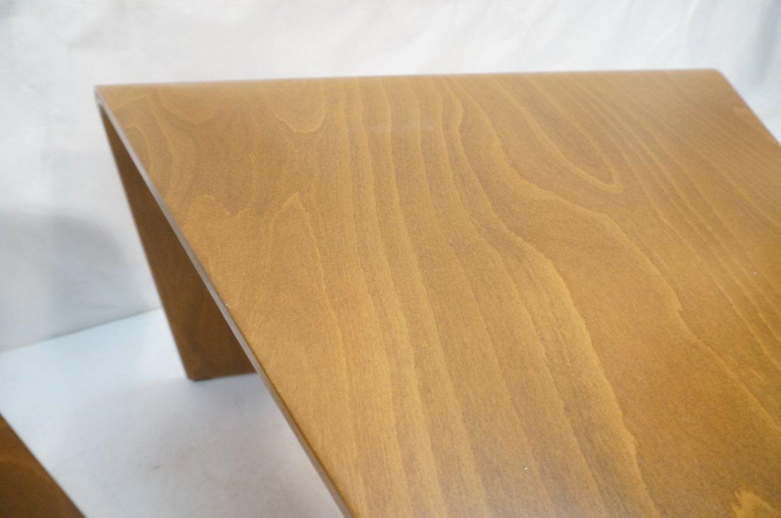 "Pr EKORNES ""wedge"" Tables. Flat molded wood form - 5"
