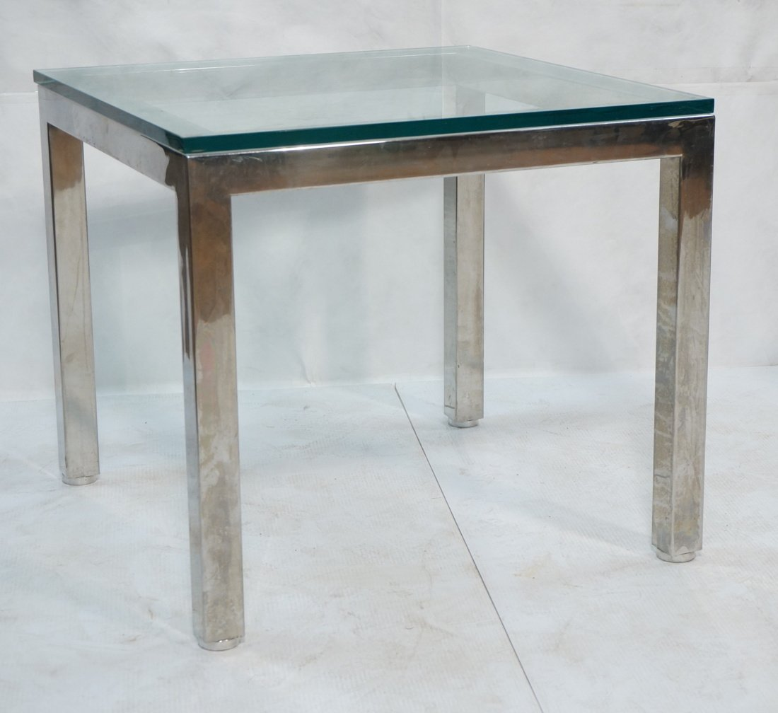 "Square Chrome Glass Top Side Table. 3/4"" Thick gl"