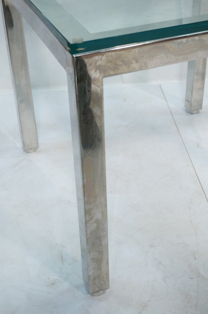 "Square Chrome Glass Top Side Table. 3/4"" Thick gl - 2"