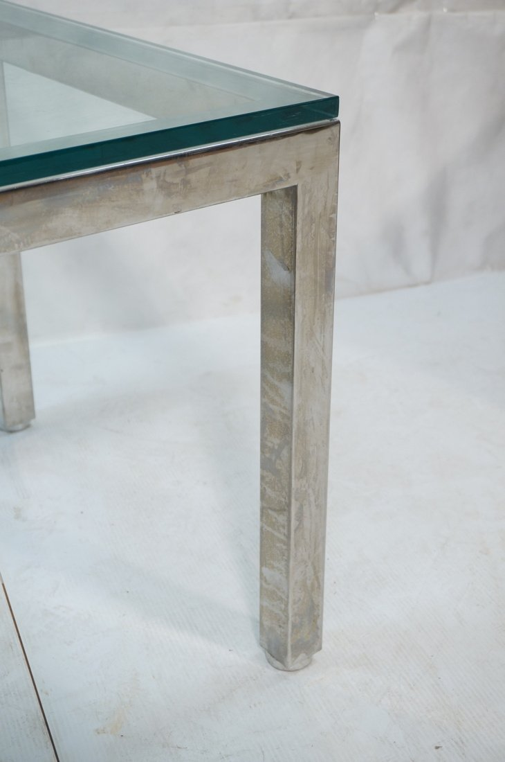 "Square Chrome Glass Top Side Table. 3/4"" Thick gl - 3"