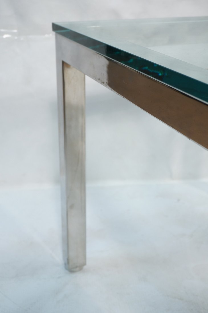 "Square Chrome Glass Top Side Table. 3/4"" Thick gl - 4"