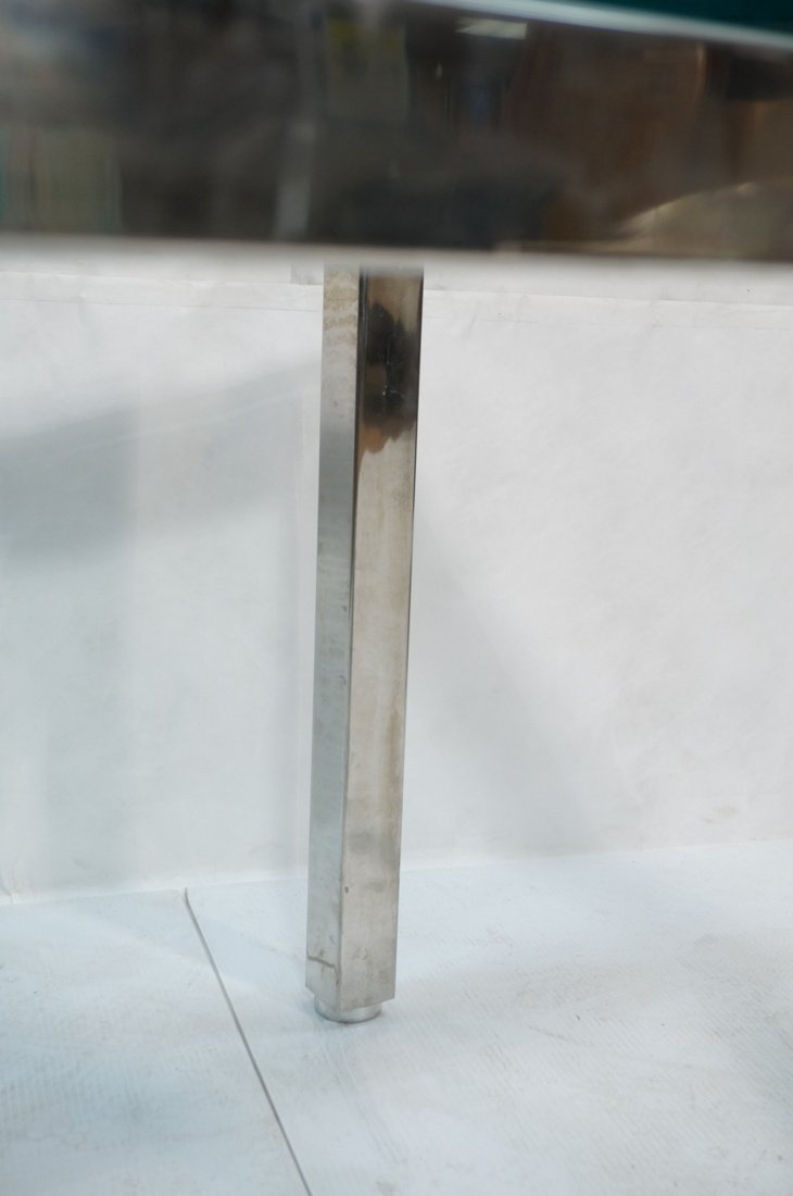 "Square Chrome Glass Top Side Table. 3/4"" Thick gl - 5"