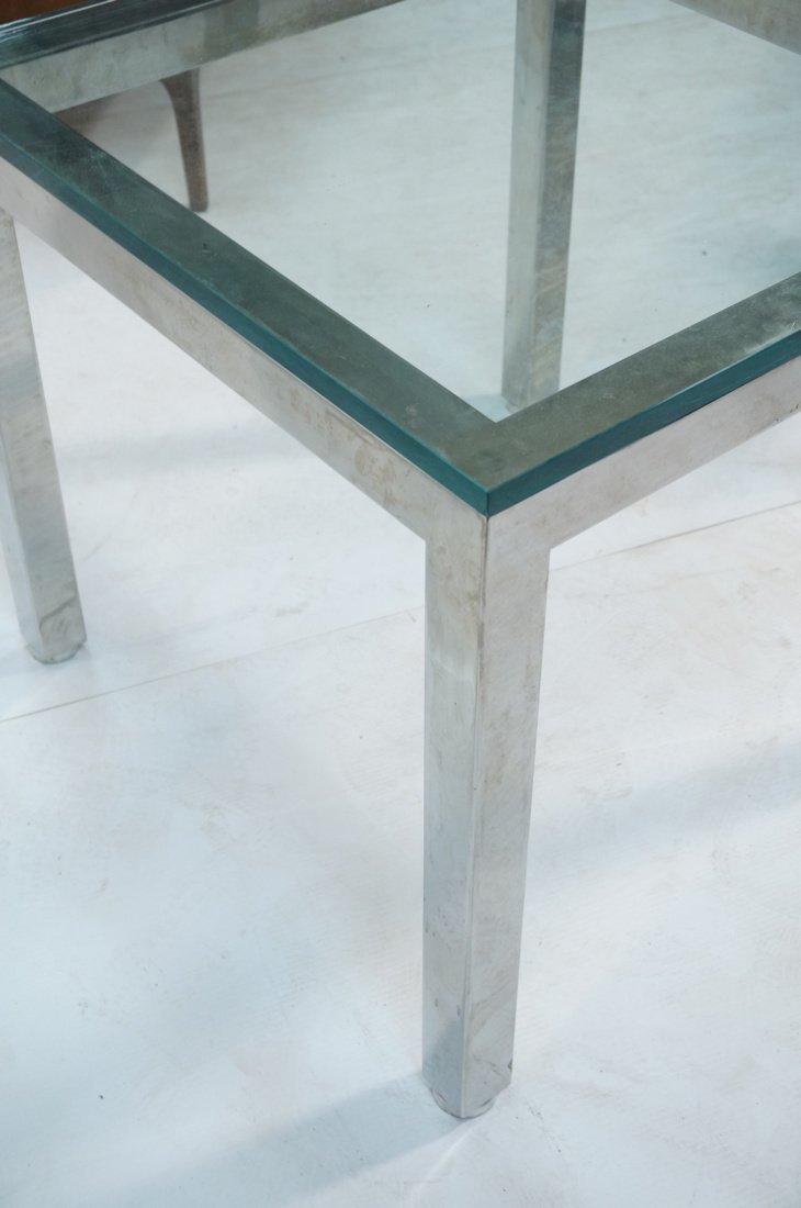 "Square Chrome Glass Top Side Table. 3/4"" Thick gl - 6"
