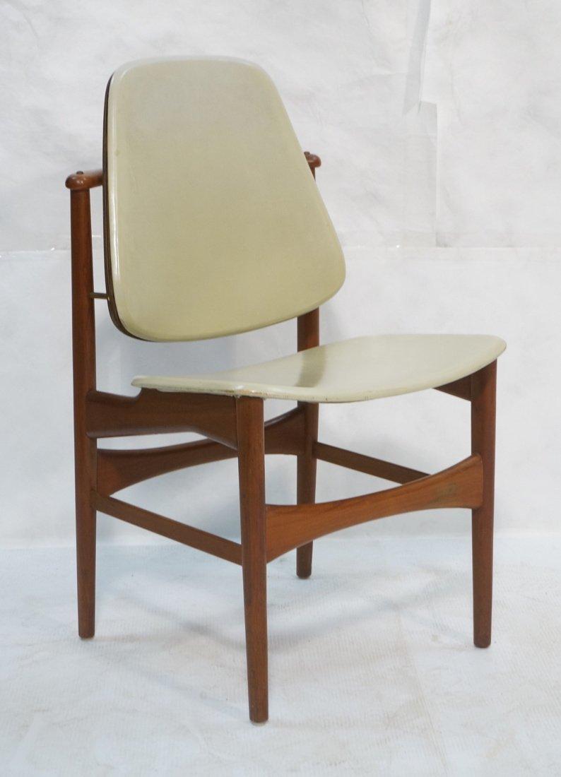 ARNE HOVMAND OLSEN Teak Office Chair.  Pale Leath