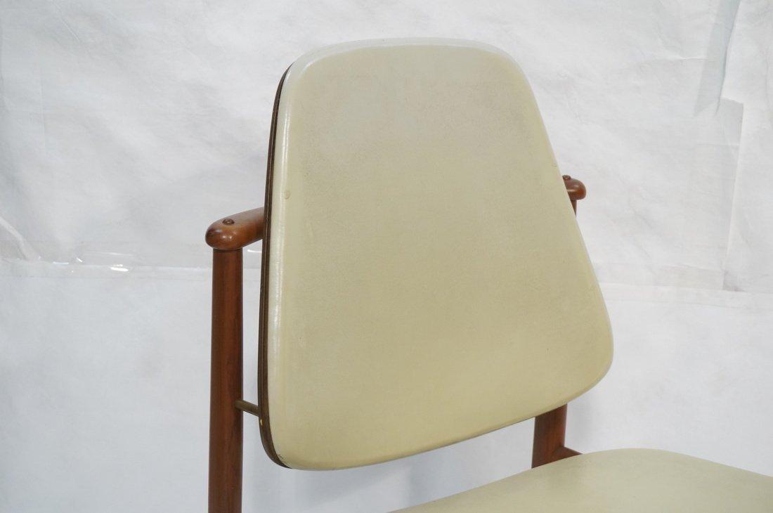ARNE HOVMAND OLSEN Teak Office Chair.  Pale Leath - 2