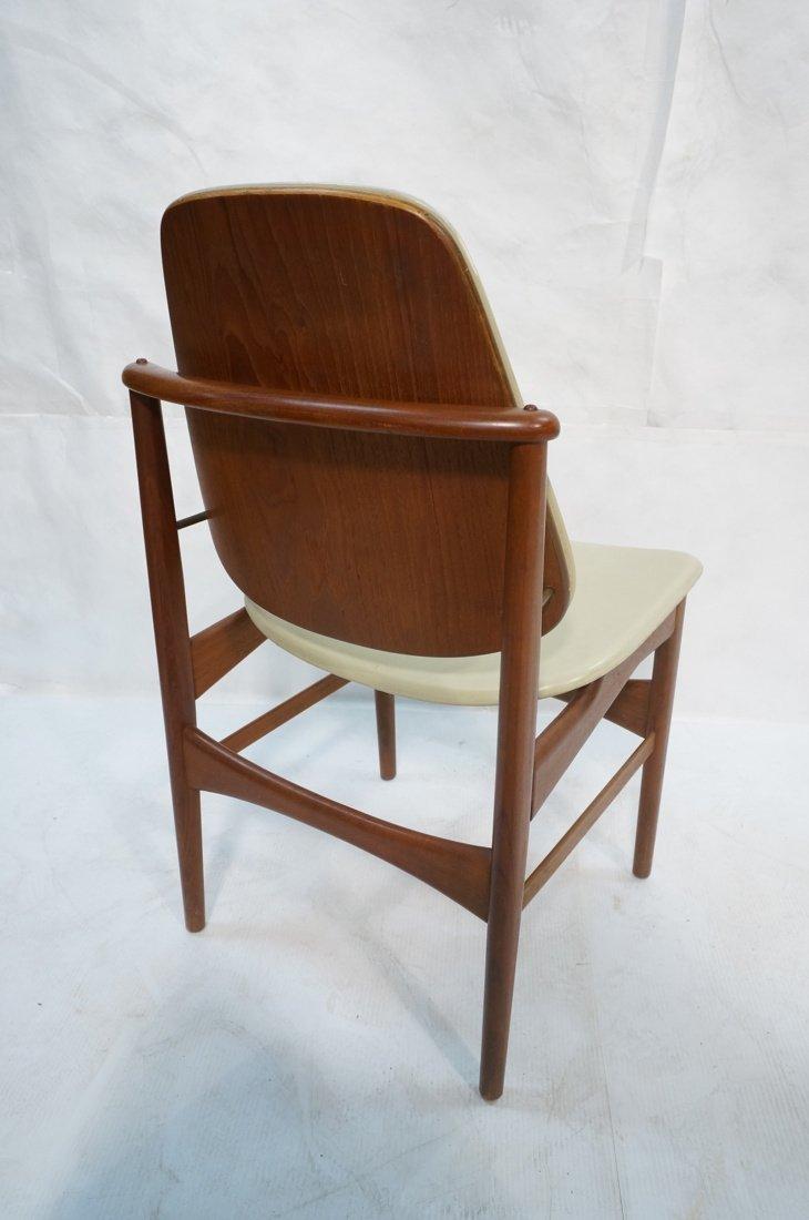 ARNE HOVMAND OLSEN Teak Office Chair.  Pale Leath - 5