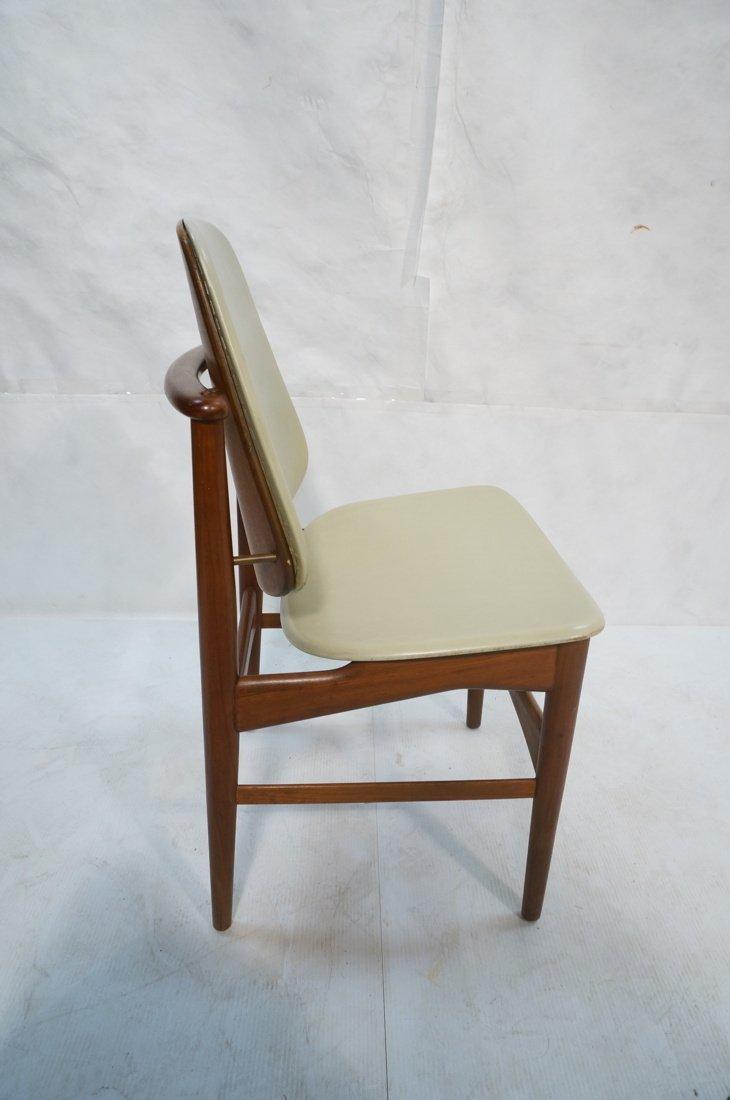 ARNE HOVMAND OLSEN Teak Office Chair.  Pale Leath - 6