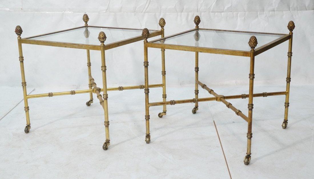 Pr Gilt metal Square Side Tables. Antiqued gold p