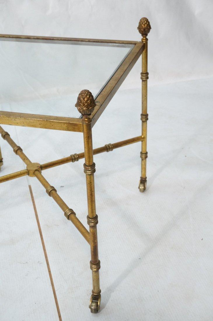Pr Gilt metal Square Side Tables. Antiqued gold p - 2