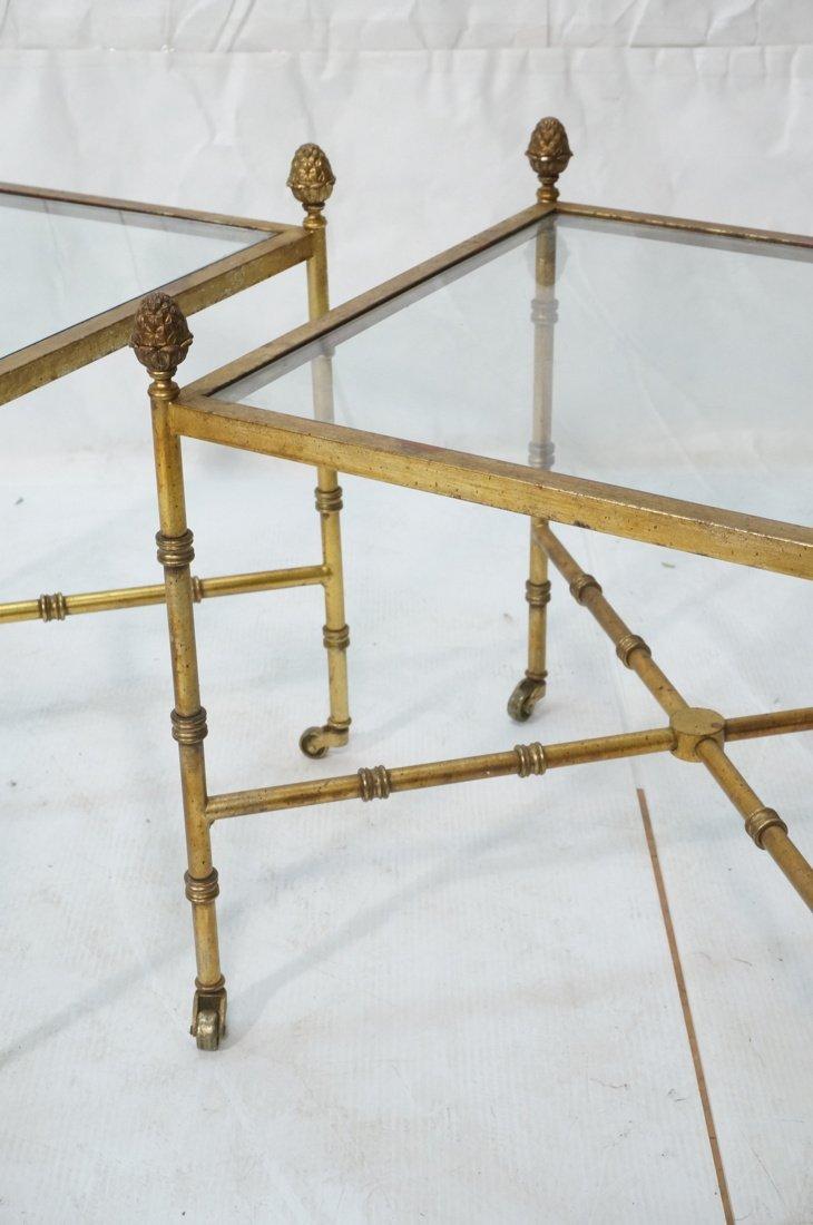 Pr Gilt metal Square Side Tables. Antiqued gold p - 3