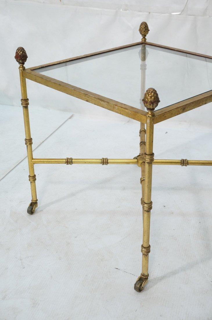 Pr Gilt metal Square Side Tables. Antiqued gold p - 4