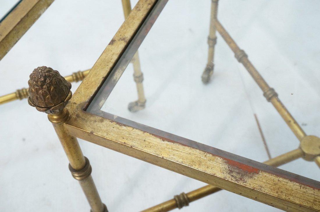 Pr Gilt metal Square Side Tables. Antiqued gold p - 5