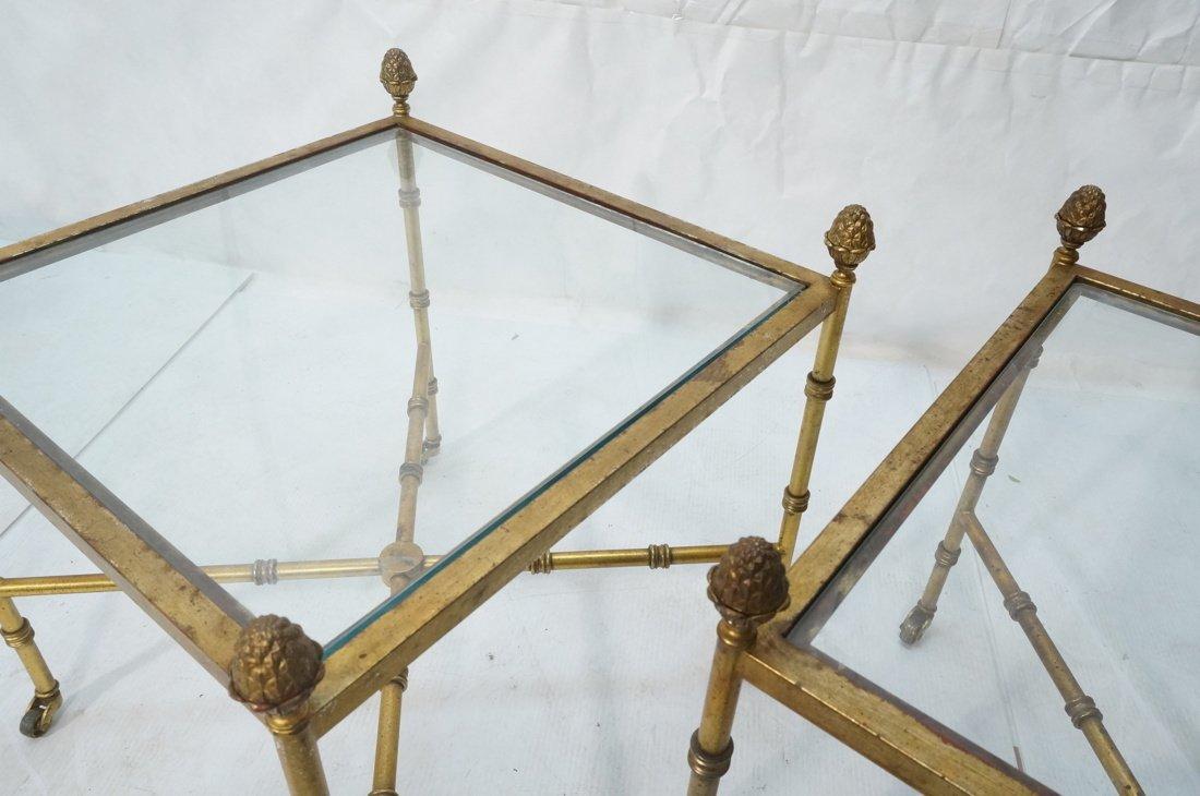 Pr Gilt metal Square Side Tables. Antiqued gold p - 6