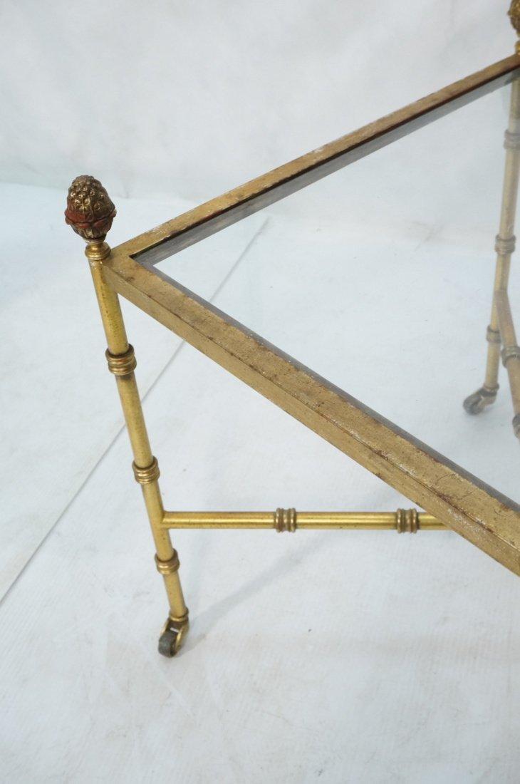 Pr Gilt metal Square Side Tables. Antiqued gold p - 7