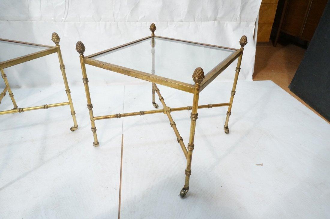 Pr Gilt metal Square Side Tables. Antiqued gold p - 9