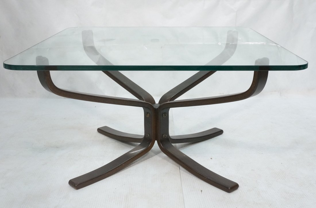 Dark Wood Modernist Glass Top Coffee Table. Corse