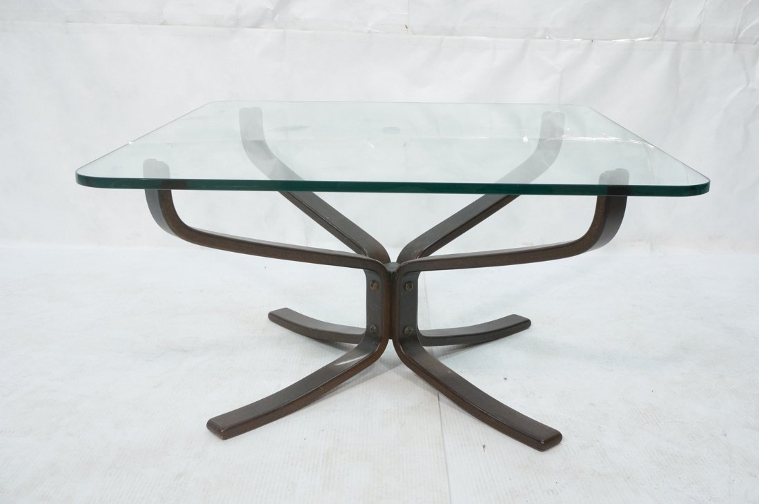Dark Wood Modernist Glass Top Coffee Table. Corse - 2