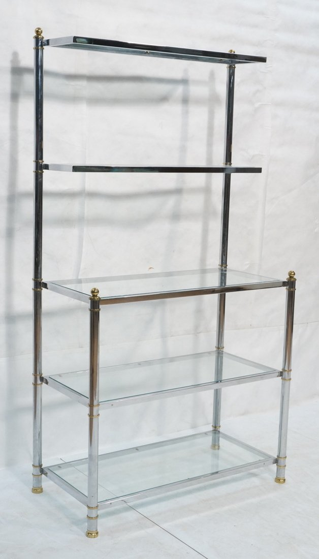 Chrome & Glass Etagere Display Shelf Unit. Steppe