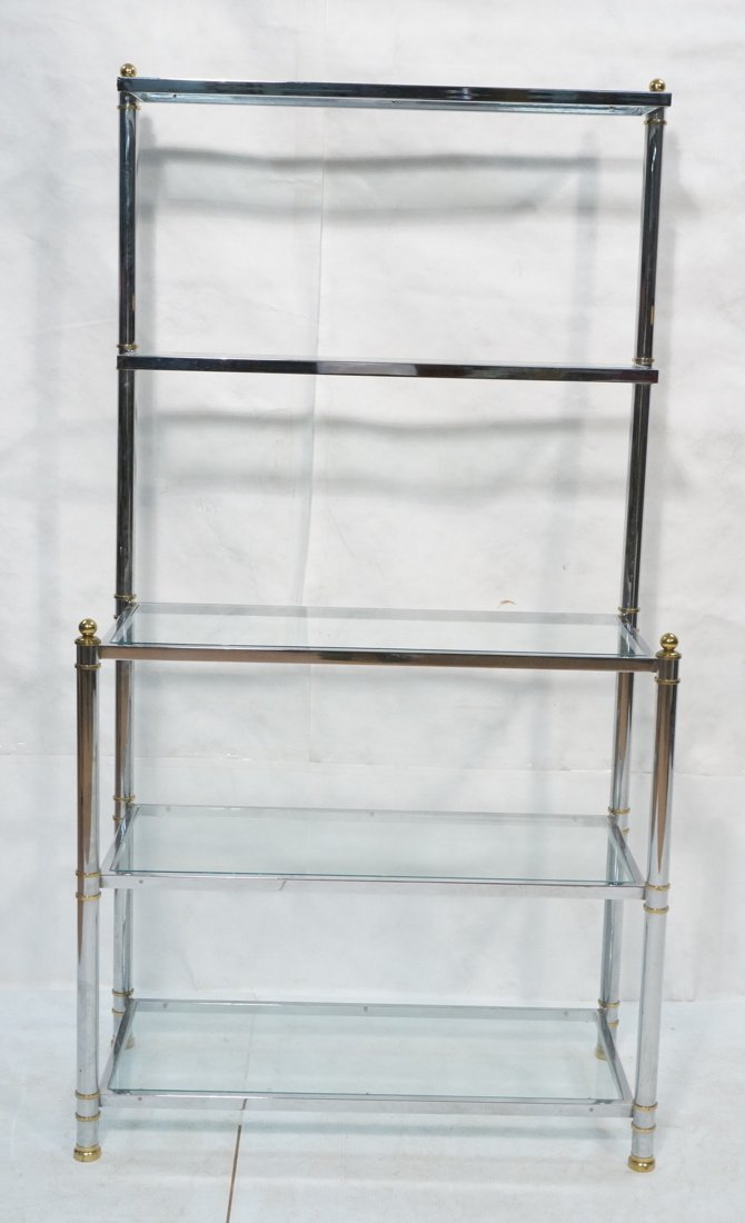Chrome & Glass Etagere Display Shelf Unit. Steppe - 2