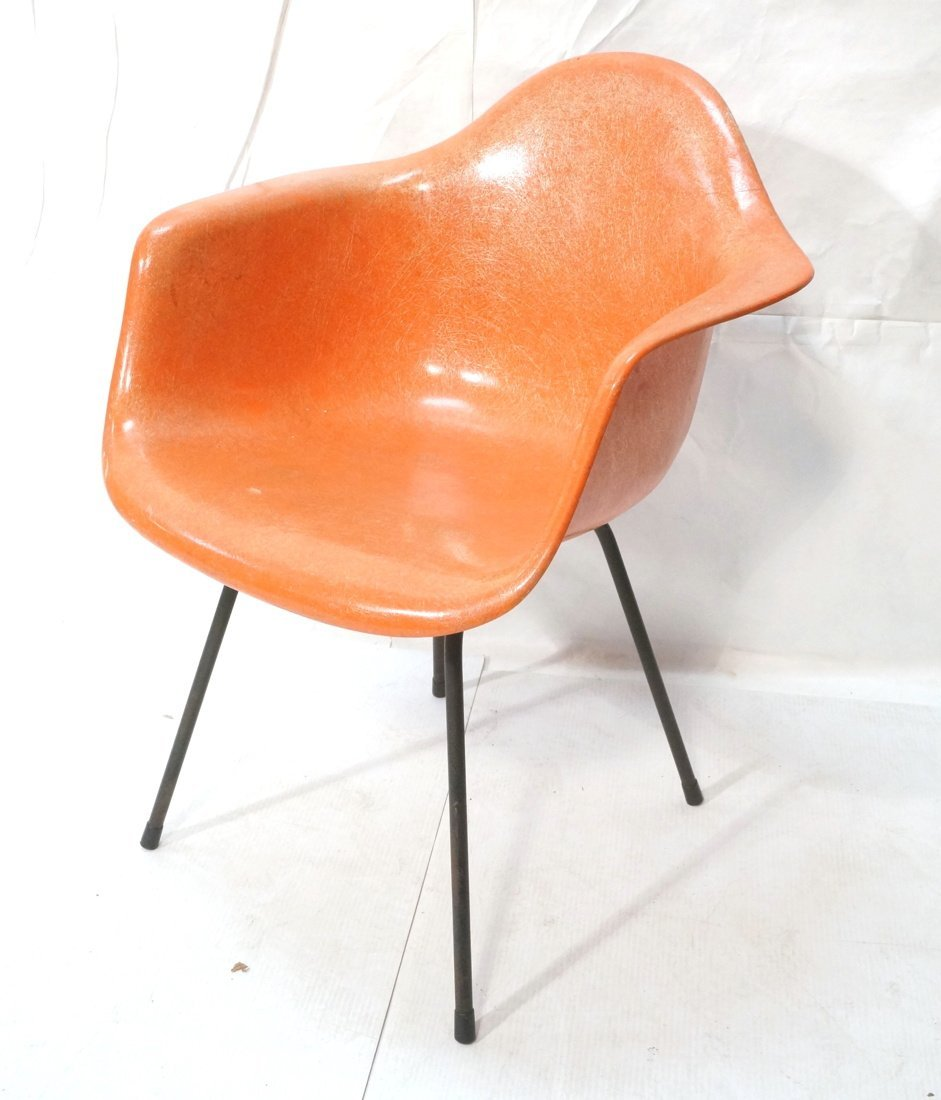 Orange HERMAN MILLER Fiberglass Shell Lounge Chai