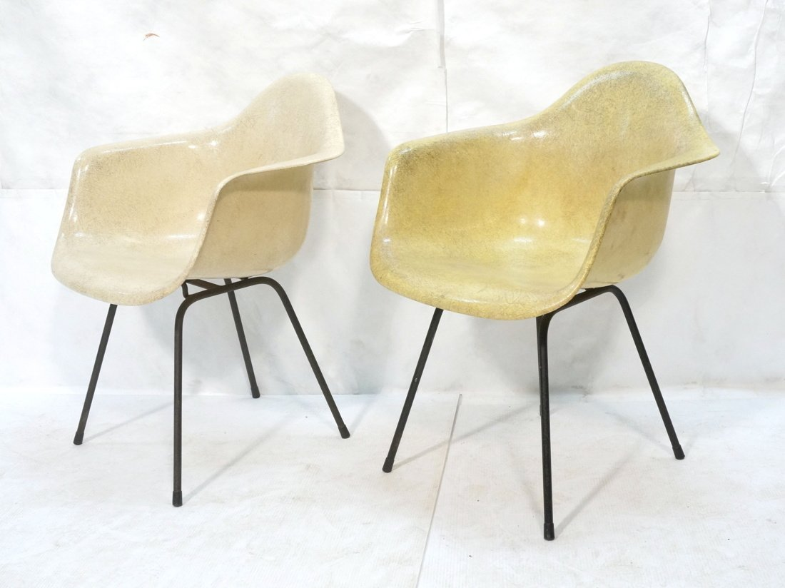 2pc HERMAN MILLER Fiberglass Shell Lounge Chairs.